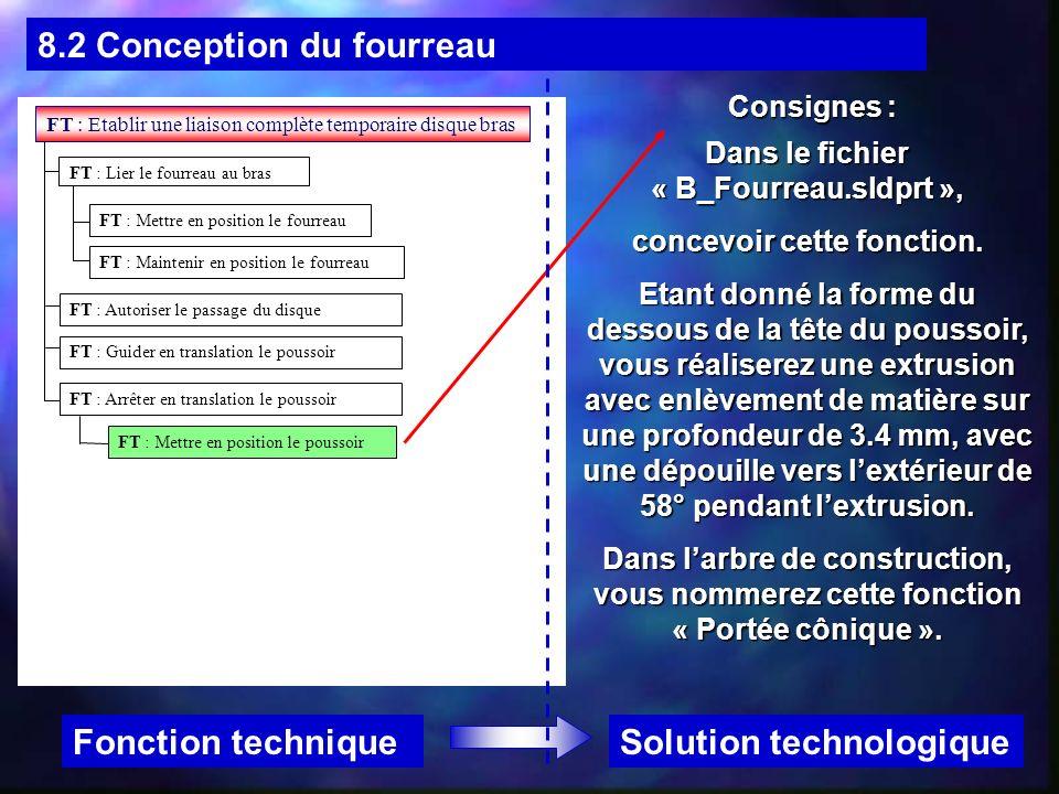 Dans le fichier « B_Fourreau.sldprt », concevoir cette fonction.