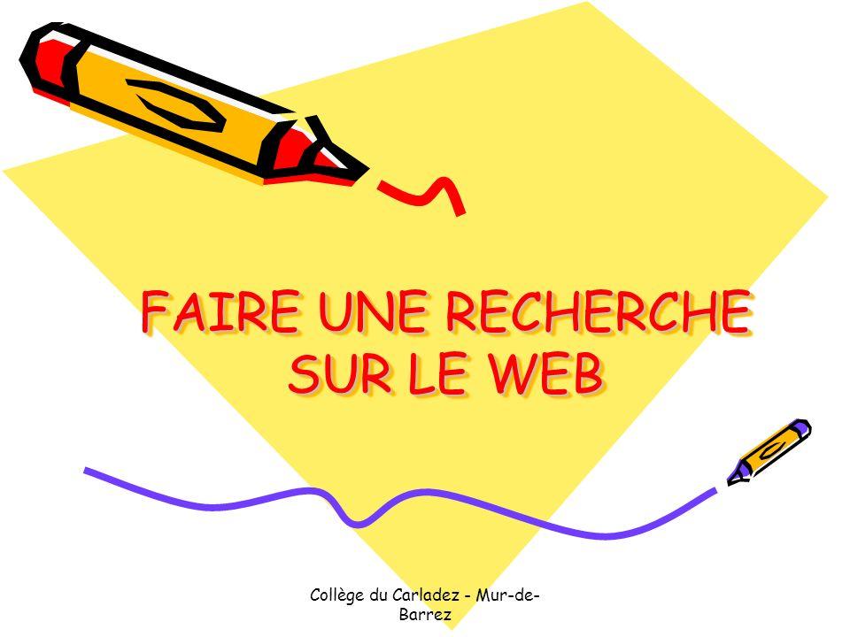 FAIRE UNE RECHERCHE SUR LE WEB