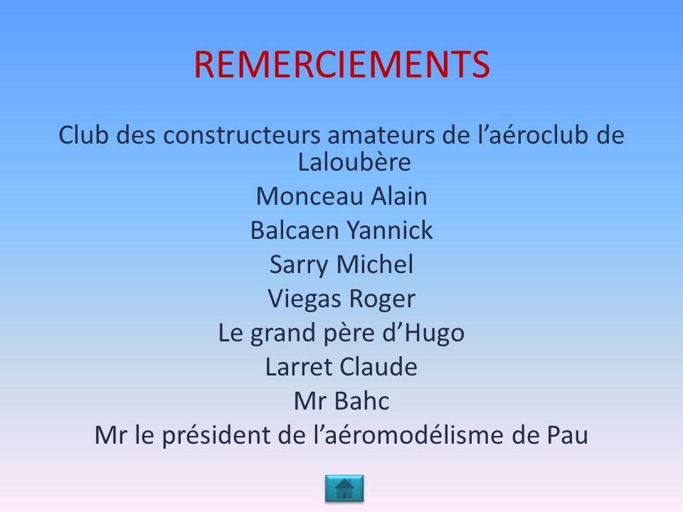 REMERCIEMENTS Club des constructeurs amateurs de l'aéroclub de Laloubère. Monceau Alain. Balcaen Yannick.