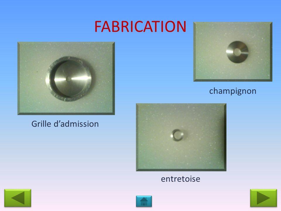 FABRICATION champignon Grille d'admission entretoise