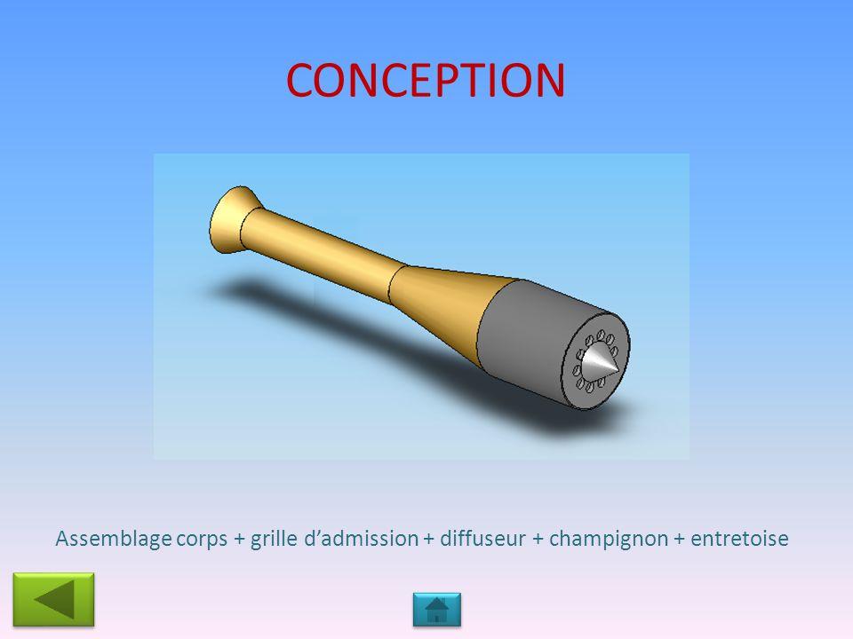 CONCEPTION Assemblage corps + grille d'admission + diffuseur + champignon + entretoise