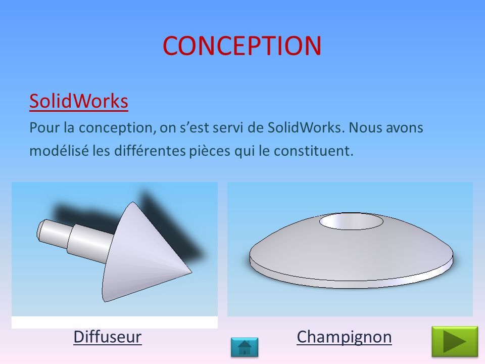 CONCEPTION SolidWorks Diffuseur Champignon