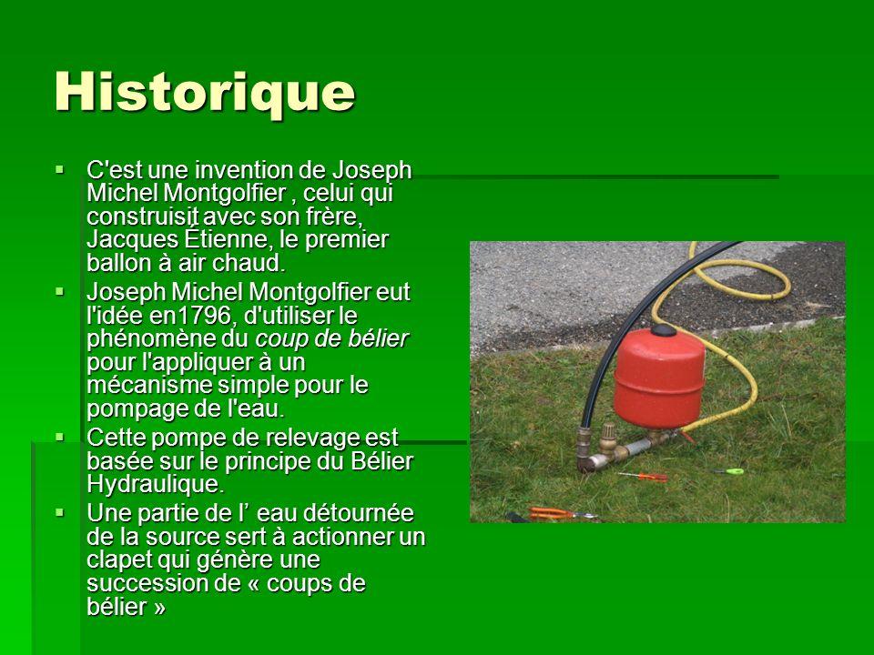 Historique C est une invention de Joseph Michel Montgolfier , celui qui construisit avec son frère, Jacques Étienne, le premier ballon à air chaud.