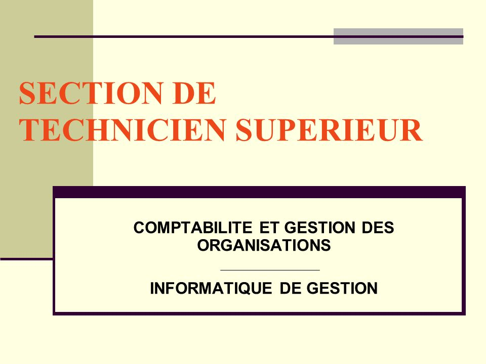 SECTION DE TECHNICIEN SUPERIEUR