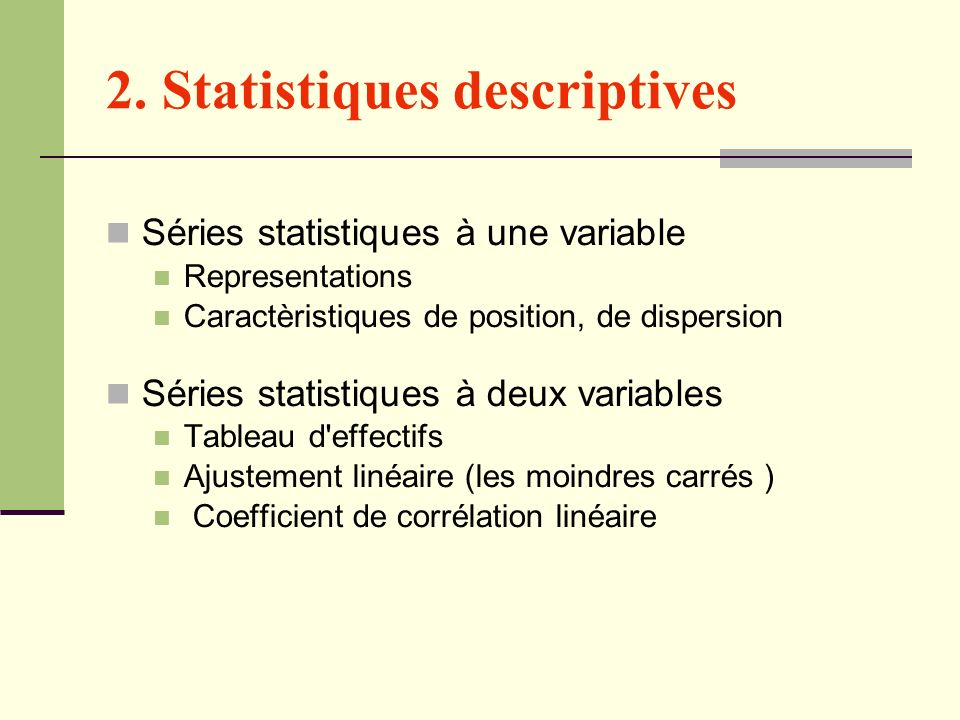 2. Statistiques descriptives