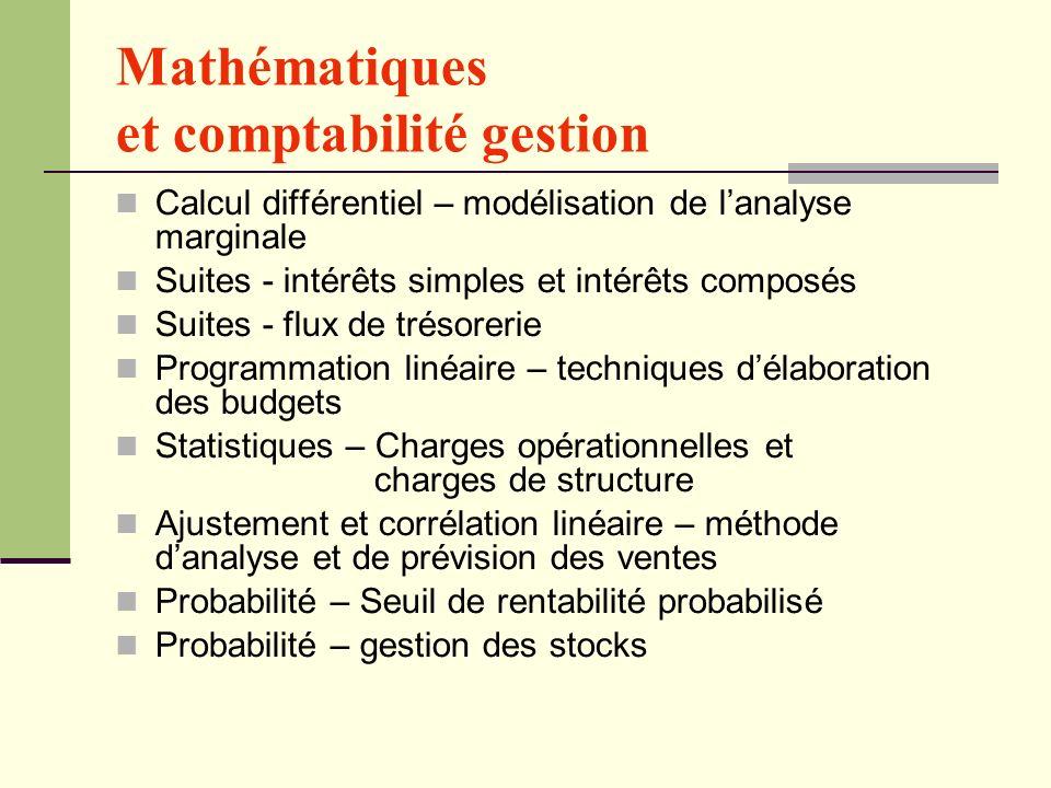 Mathématiques et comptabilité gestion
