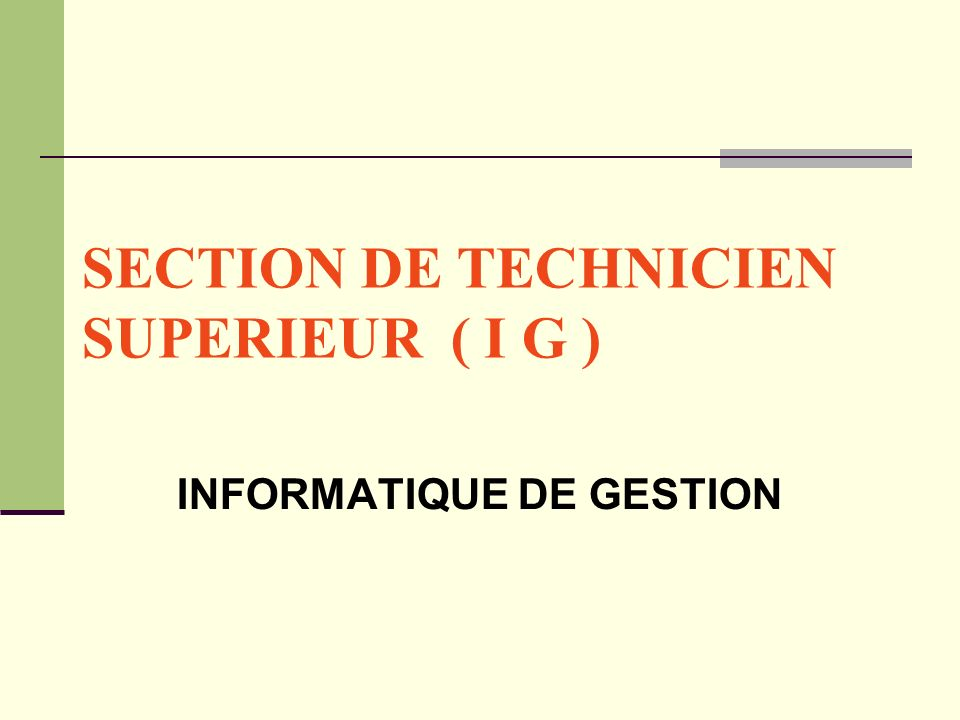 SECTION DE TECHNICIEN SUPERIEUR ( I G )