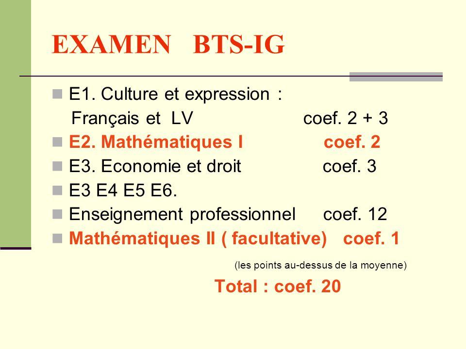 EXAMEN BTS-IG E1. Culture et expression : Français et LV coef. 2 + 3