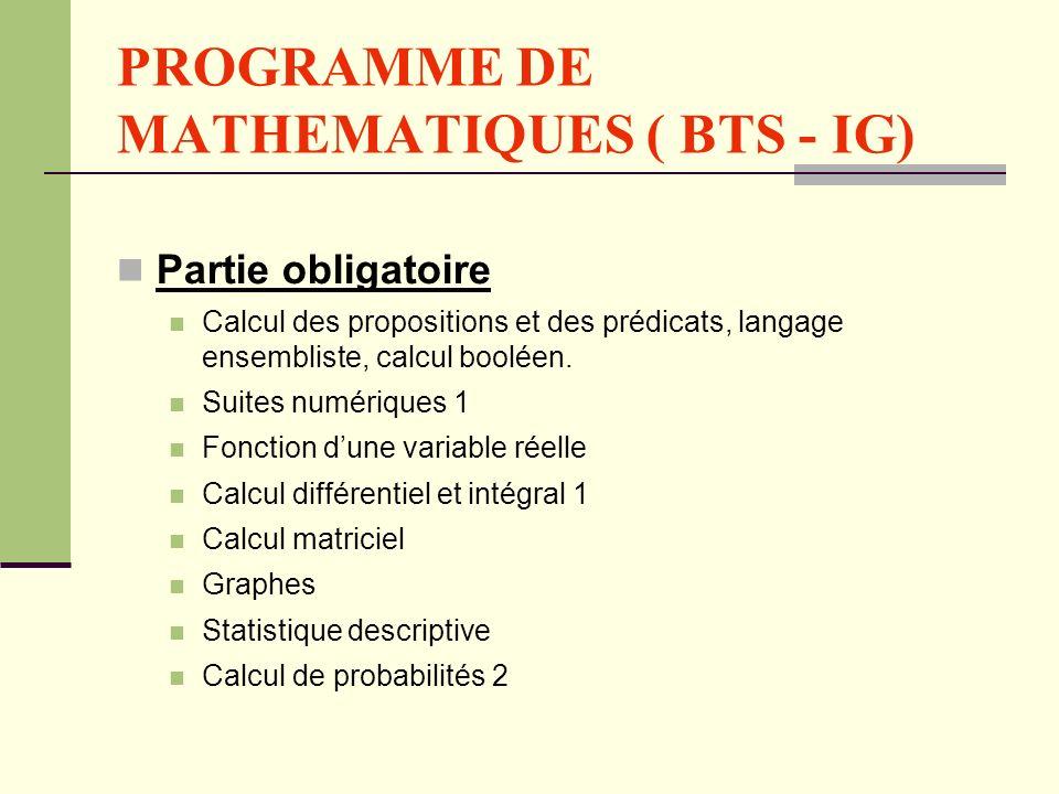 PROGRAMME DE MATHEMATIQUES ( BTS - IG)