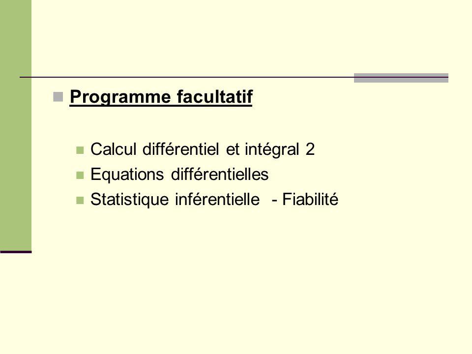 Programme facultatif Calcul différentiel et intégral 2