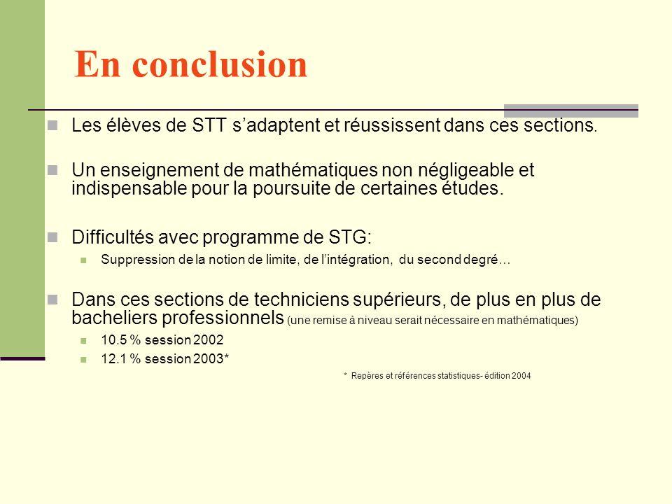 En conclusion Les élèves de STT s'adaptent et réussissent dans ces sections.