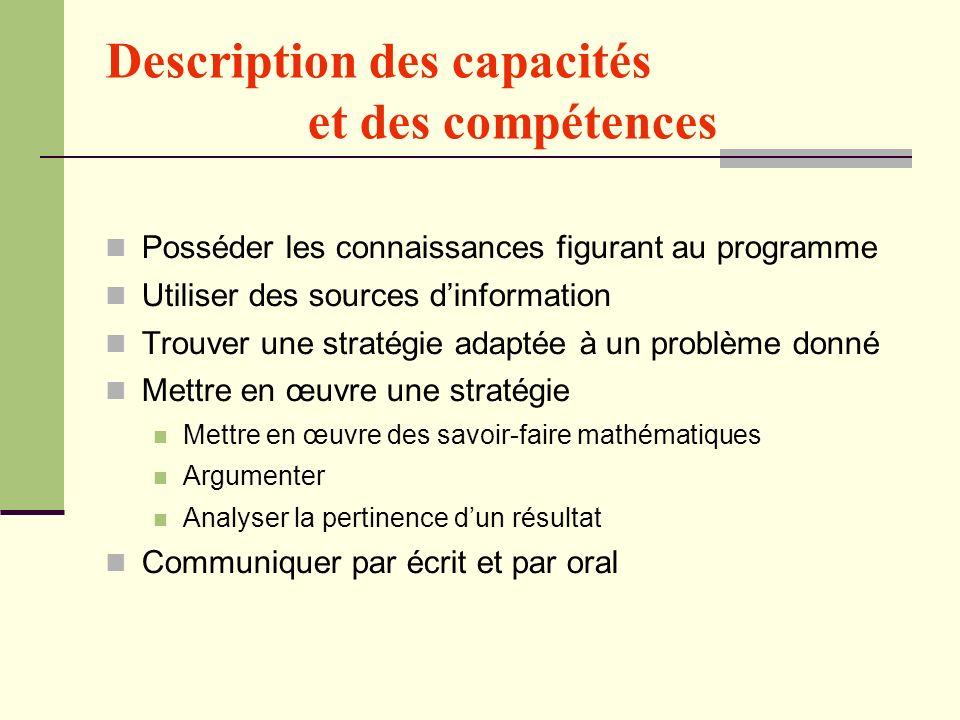 Description des capacités et des compétences