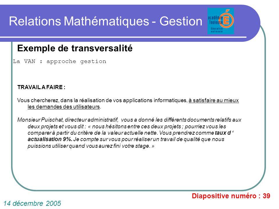 Relations Mathématiques - Gestion