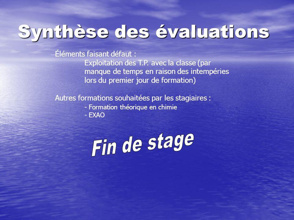 Synthèse des évaluations