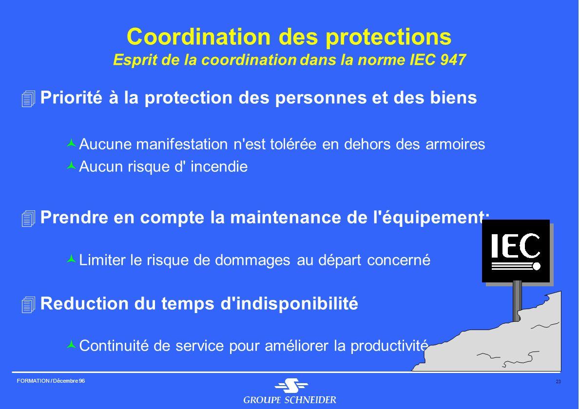 Coordination des protections Esprit de la coordination dans la norme IEC 947