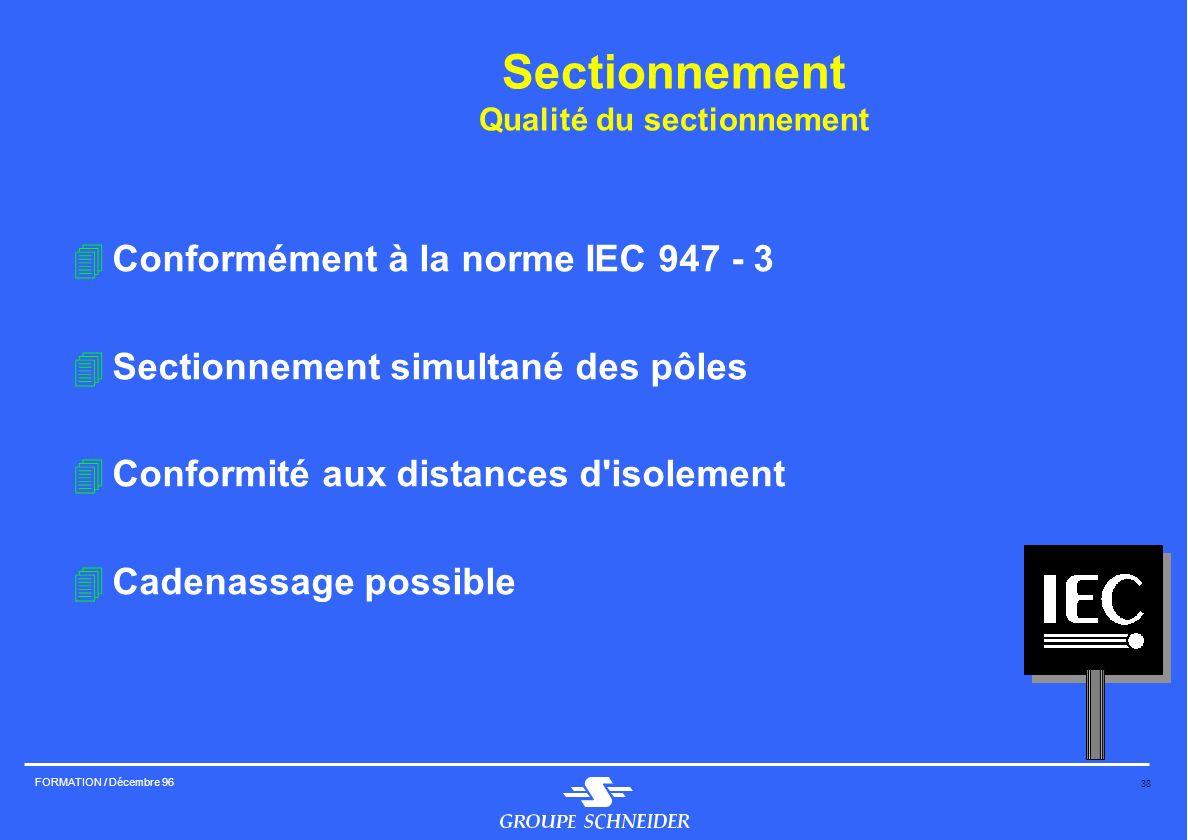 Sectionnement Qualité du sectionnement