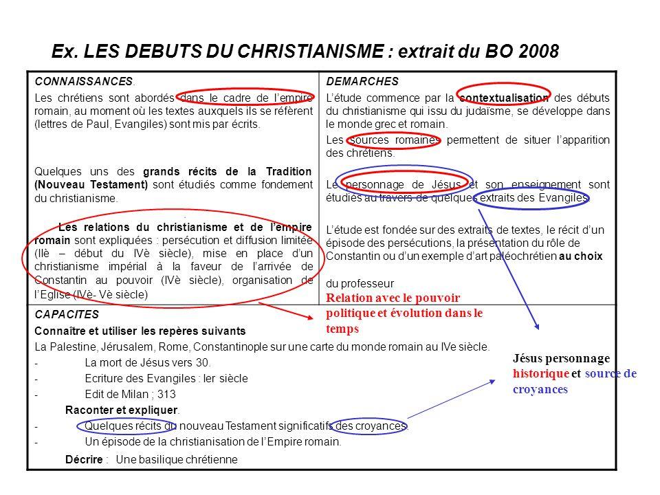Ex. LES DEBUTS DU CHRISTIANISME : extrait du BO 2008