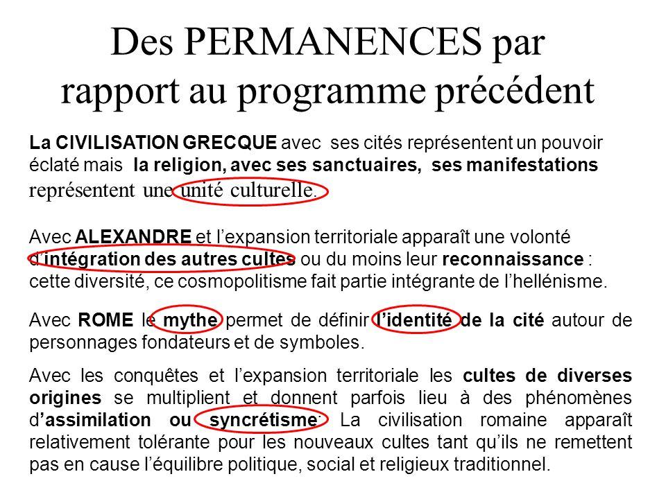 Des PERMANENCES par rapport au programme précédent