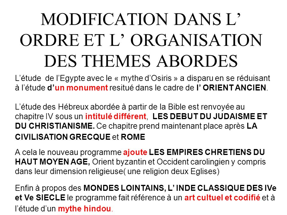 MODIFICATION DANS L' ORDRE ET L' ORGANISATION DES THEMES ABORDES