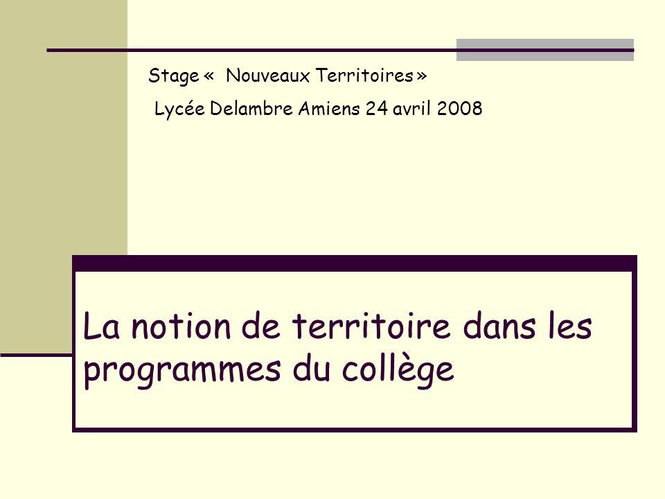 La notion de territoire dans les programmes du collège