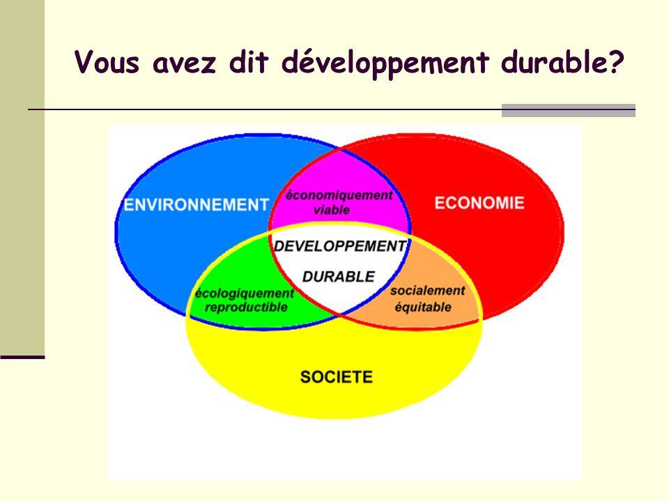 Vous avez dit développement durable