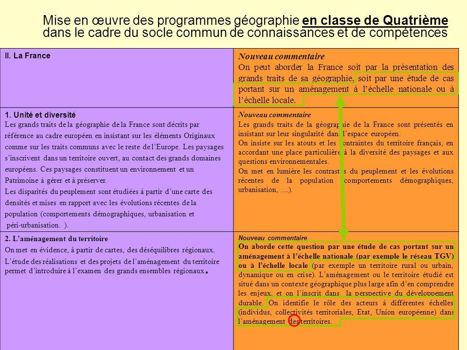 Mise en œuvre des programmes géographie en classe de Quatrième dans le cadre du socle commun de connaissances et de compétences