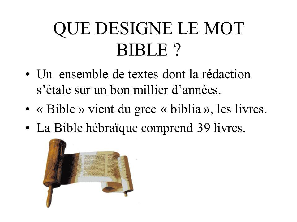 QUE DESIGNE LE MOT BIBLE