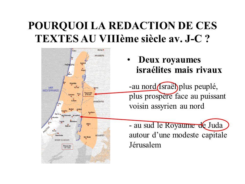 POURQUOI LA REDACTION DE CES TEXTES AU VIIIème siècle av. J-C