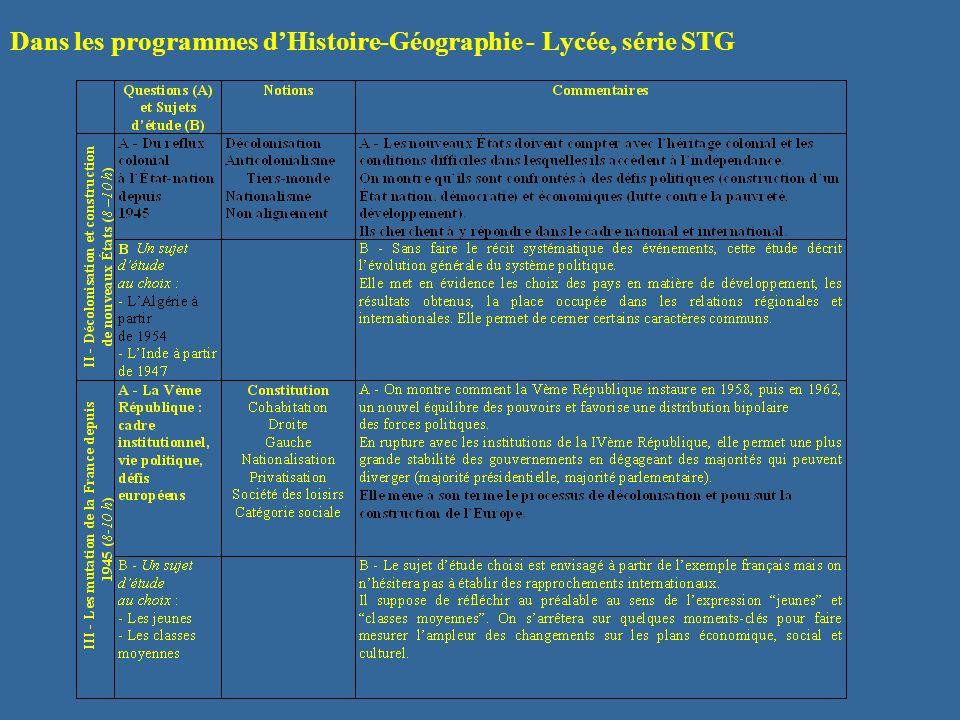 Dans les programmes d'Histoire-Géographie - Lycée, série STG