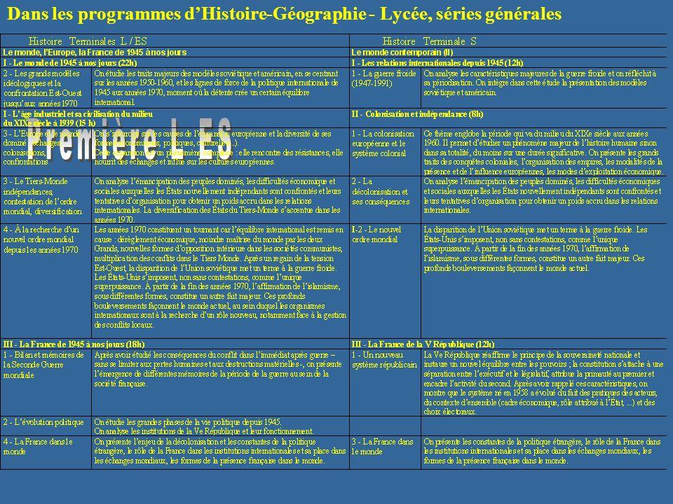 Dans les programmes d'Histoire-Géographie - Lycée, séries générales