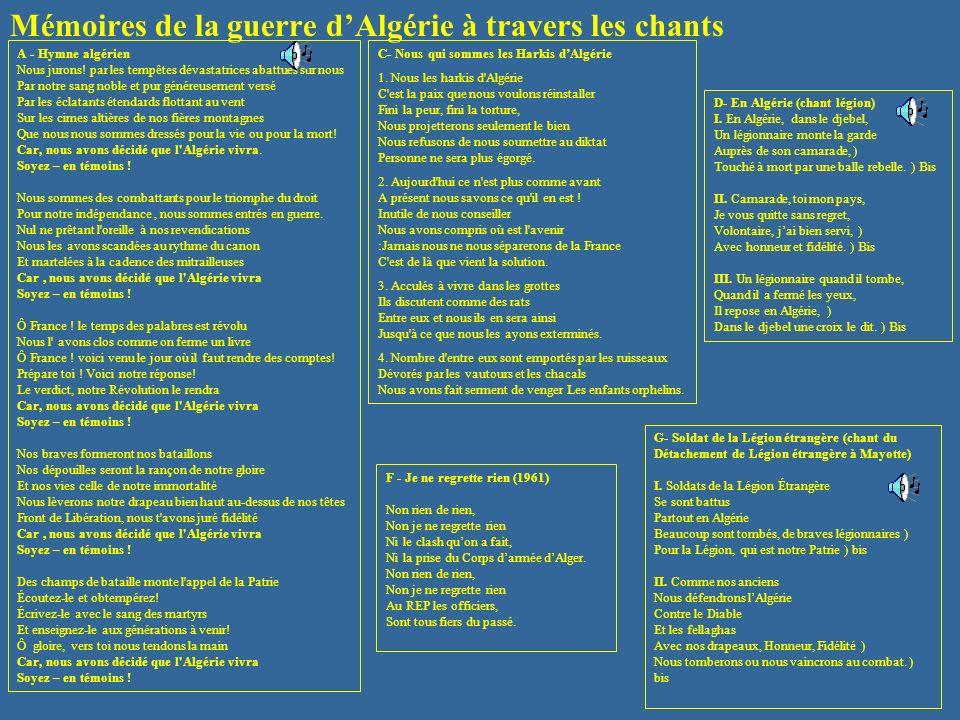 Mémoires de la guerre d'Algérie à travers les chants