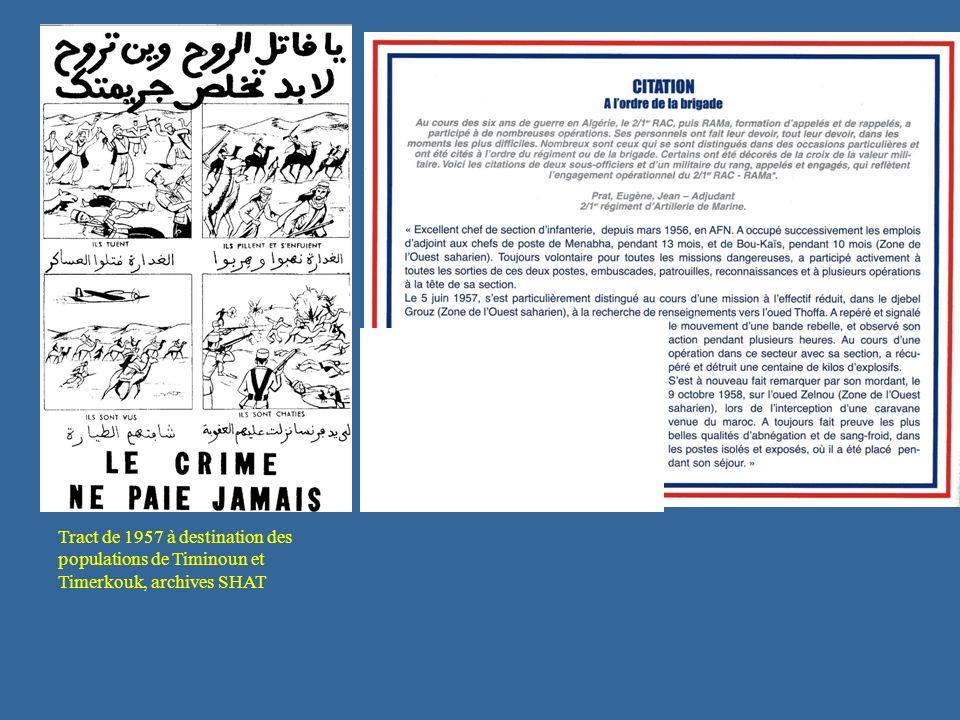 Tract de 1957 à destination des populations de Timinoun et Timerkouk, archives SHAT
