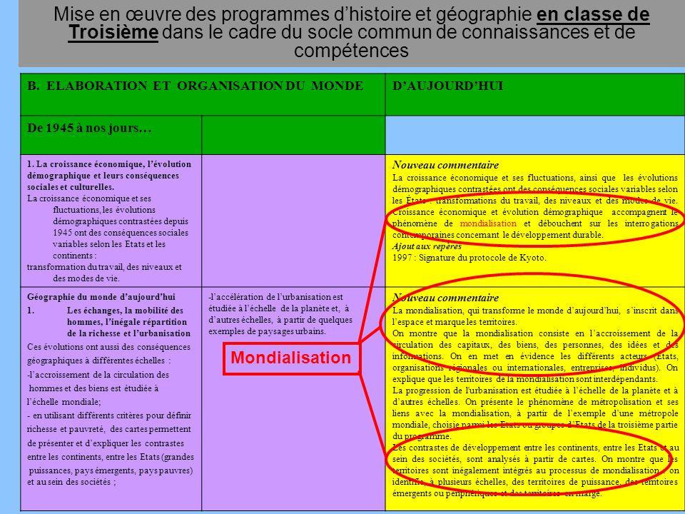 Mise en œuvre des programmes d'histoire et géographie en classe de Troisième dans le cadre du socle commun de connaissances et de compétences