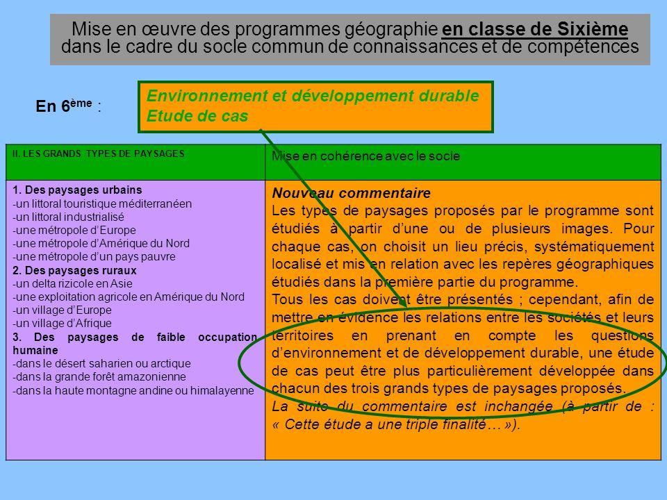 Mise en œuvre des programmes géographie en classe de Sixième dans le cadre du socle commun de connaissances et de compétences