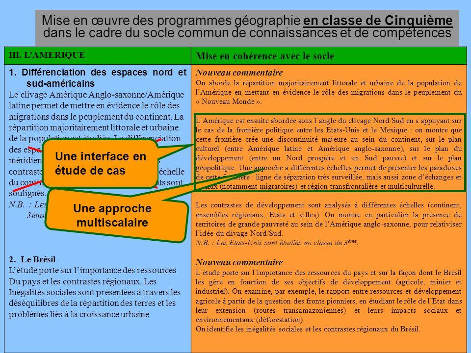 Mise en œuvre des programmes géographie en classe de Cinquième dans le cadre du socle commun de connaissances et de compétences
