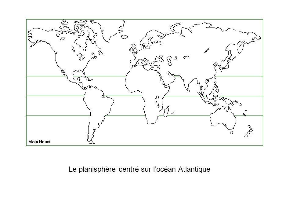 Le planisphère centré sur l'océan Atlantique
