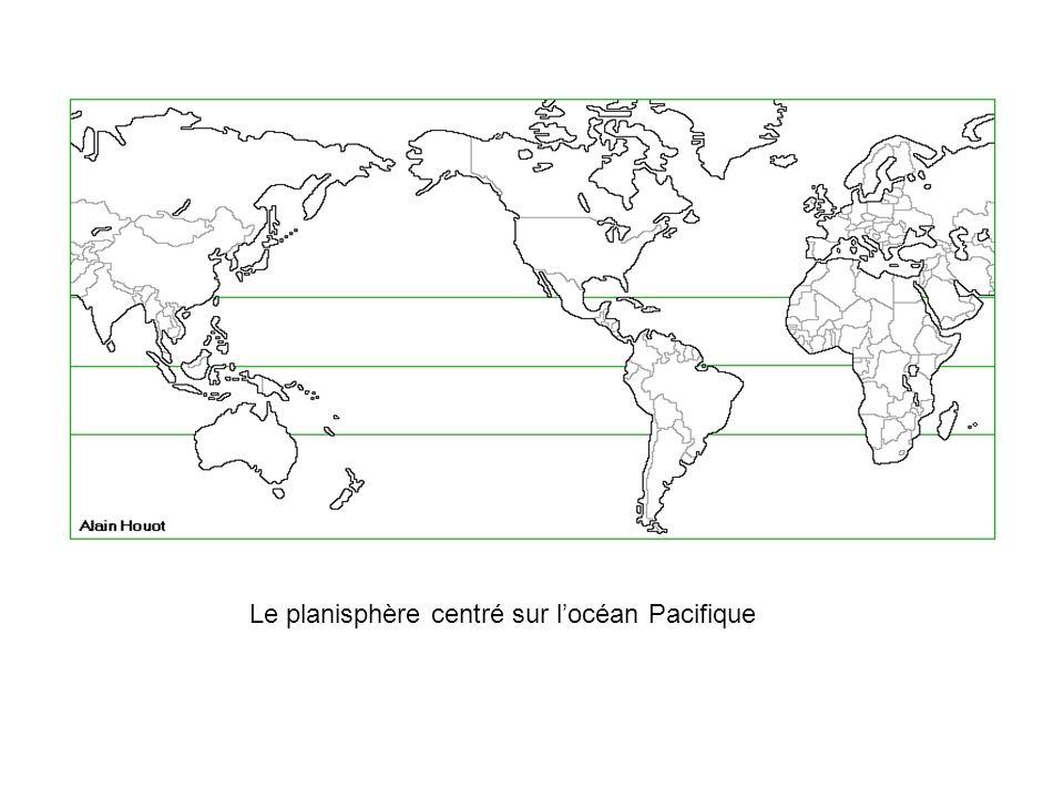 Le planisphère centré sur l'océan Pacifique