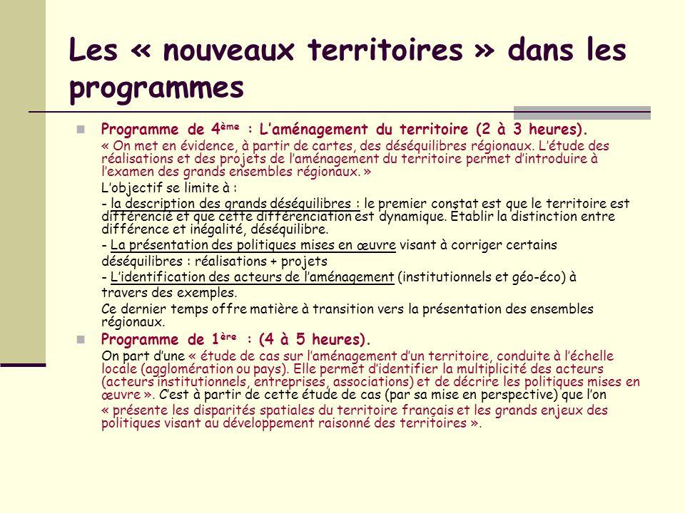 Les « nouveaux territoires » dans les programmes