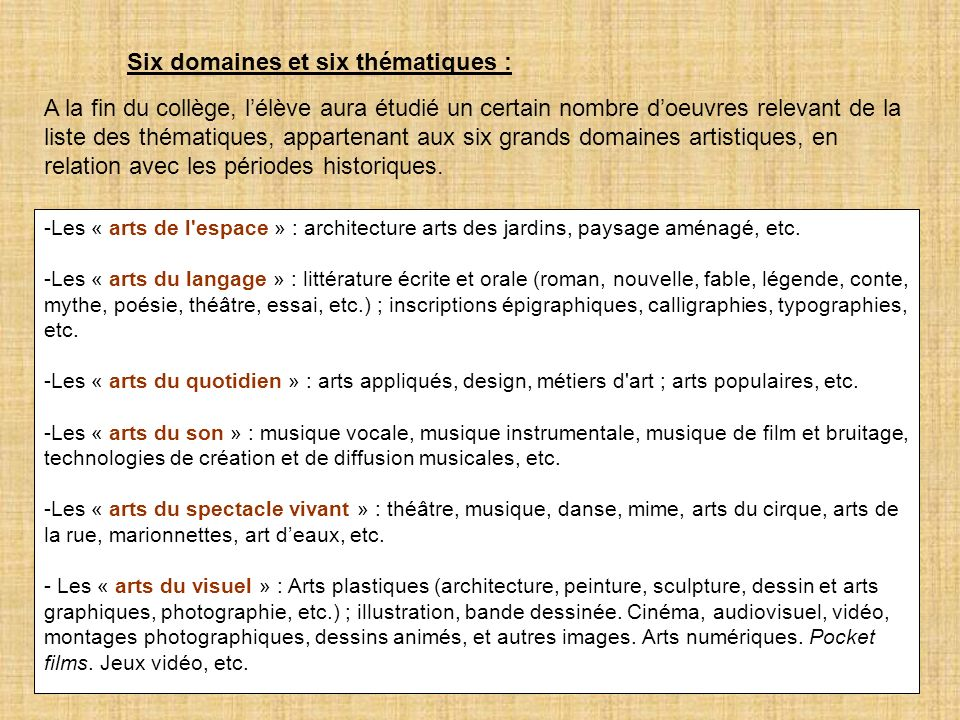 Six domaines et six thématiques :