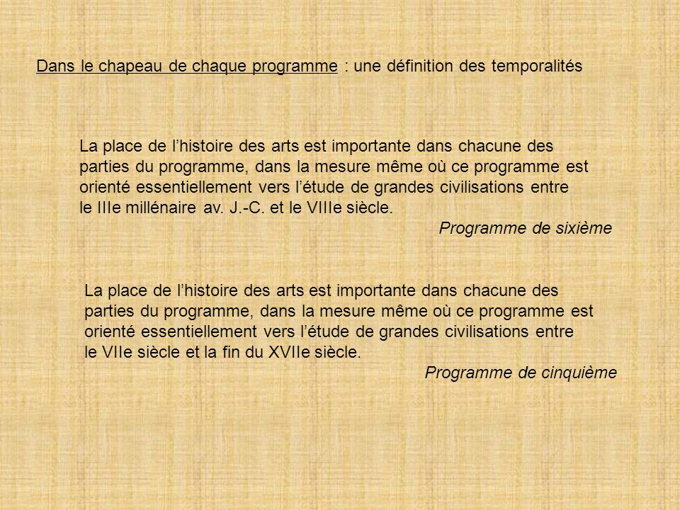 Dans le chapeau de chaque programme : une définition des temporalités