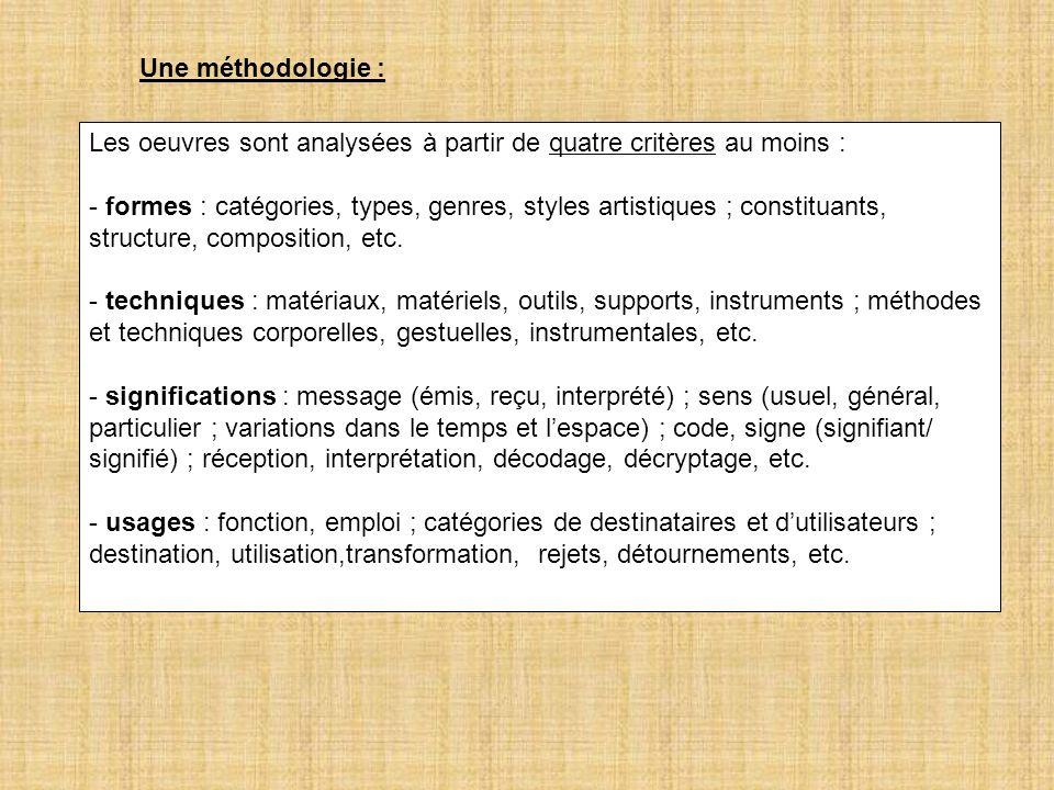 Une méthodologie :Les oeuvres sont analysées à partir de quatre critères au moins :