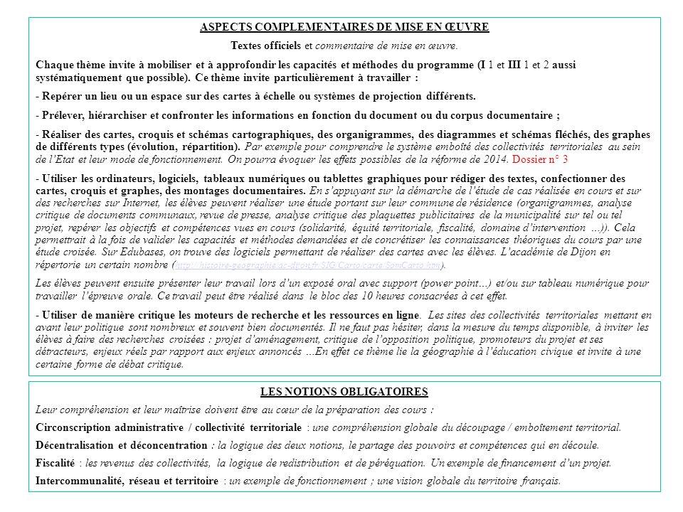 ASPECTS COMPLEMENTAIRES DE MISE EN ŒUVRE LES NOTIONS OBLIGATOIRES