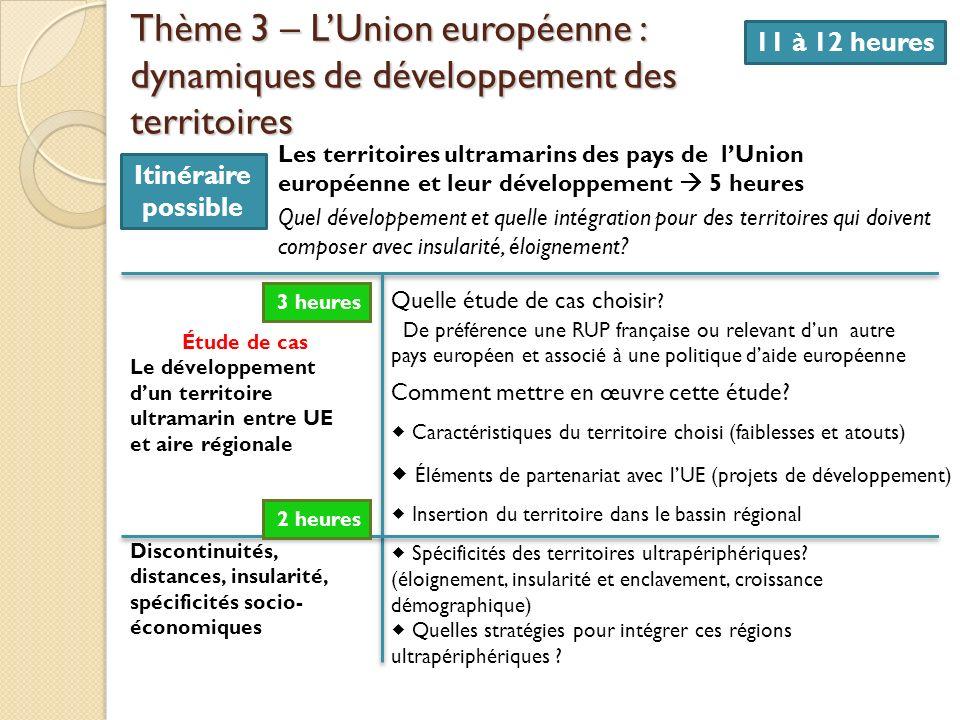 Thème 3 – L'Union européenne : dynamiques de développement des territoires