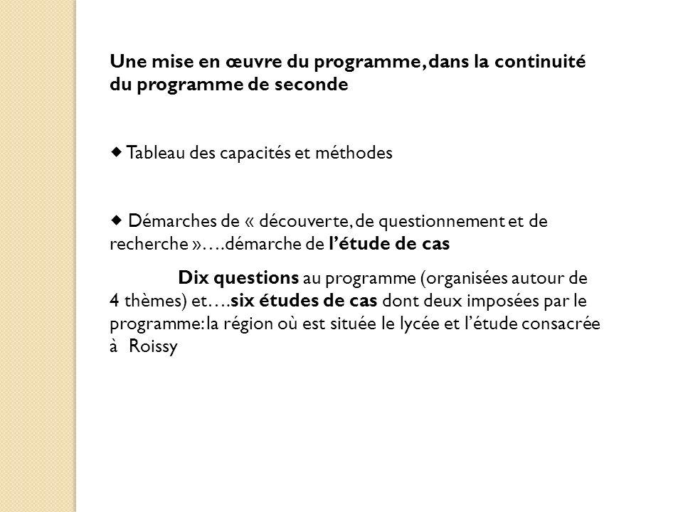 Une mise en œuvre du programme, dans la continuité du programme de seconde