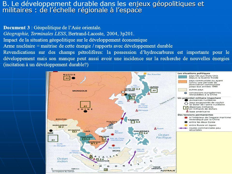 B. Le développement durable dans les enjeux géopolitiques et militaires : de l'échelle régionale à l'espace
