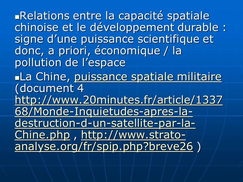 Relations entre la capacité spatiale chinoise et le développement durable : signe d'une puissance scientifique et donc, a priori, économique / la pollution de l'espace