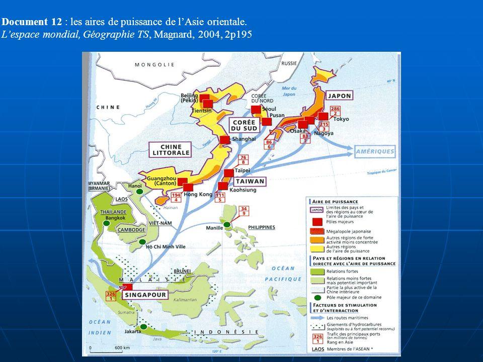 Document 12 : les aires de puissance de l'Asie orientale.