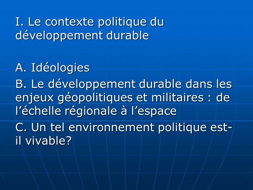 I. Le contexte politique du développement durable