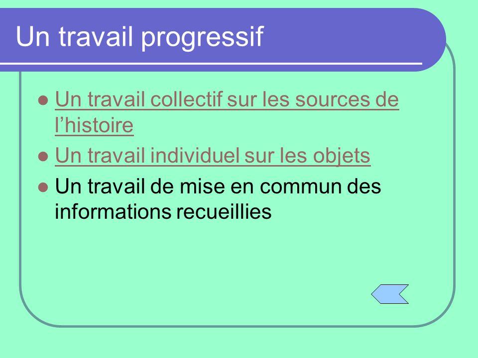Un travail progressif Un travail collectif sur les sources de l'histoire. Un travail individuel sur les objets.