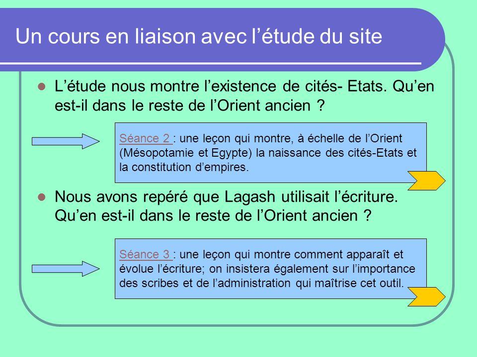 Un cours en liaison avec l'étude du site